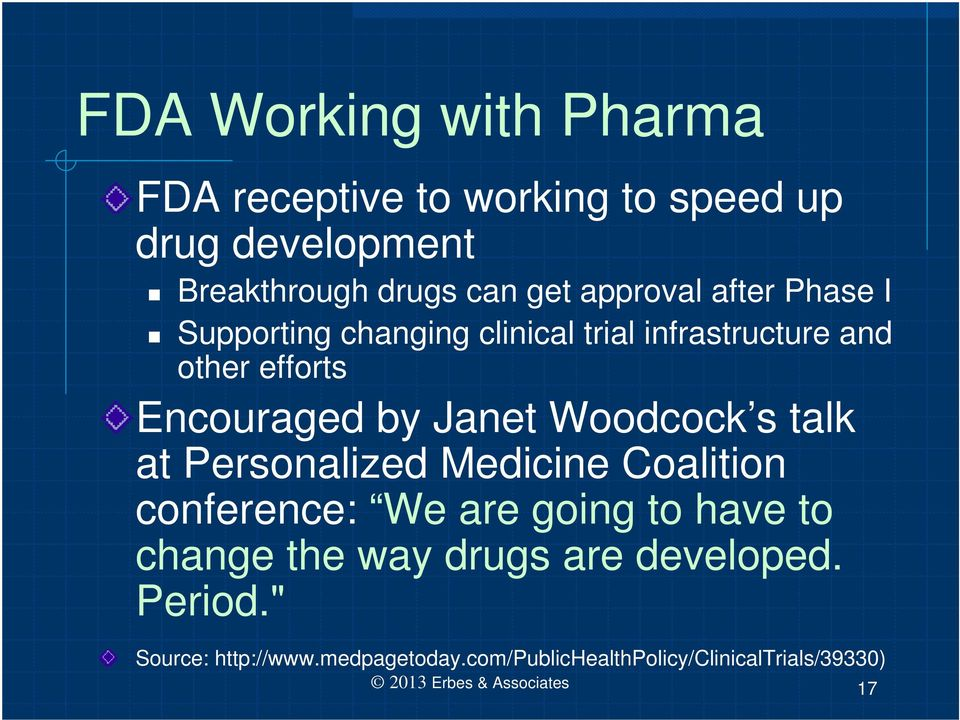 Woodcock s talk at Personalized Medicine Coalition conference: We are going to have to change the way drugs are