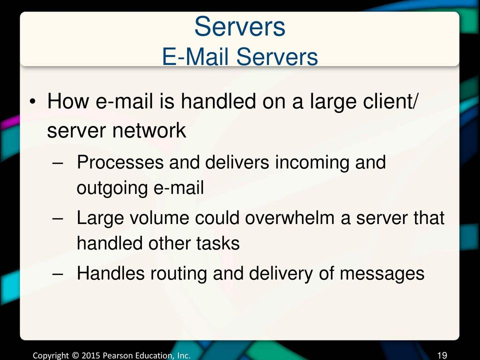 outgoing e-mail Large volume could overwhelm a server that