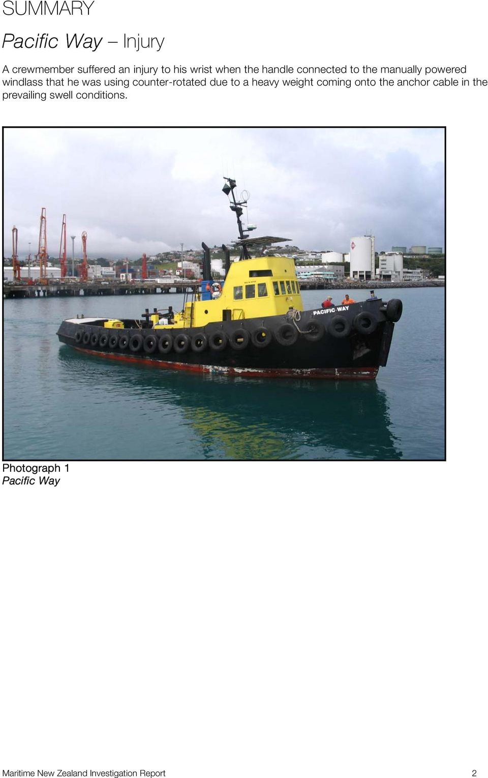 counter-rotated due to a heavy weight coming onto the anchor cable in the