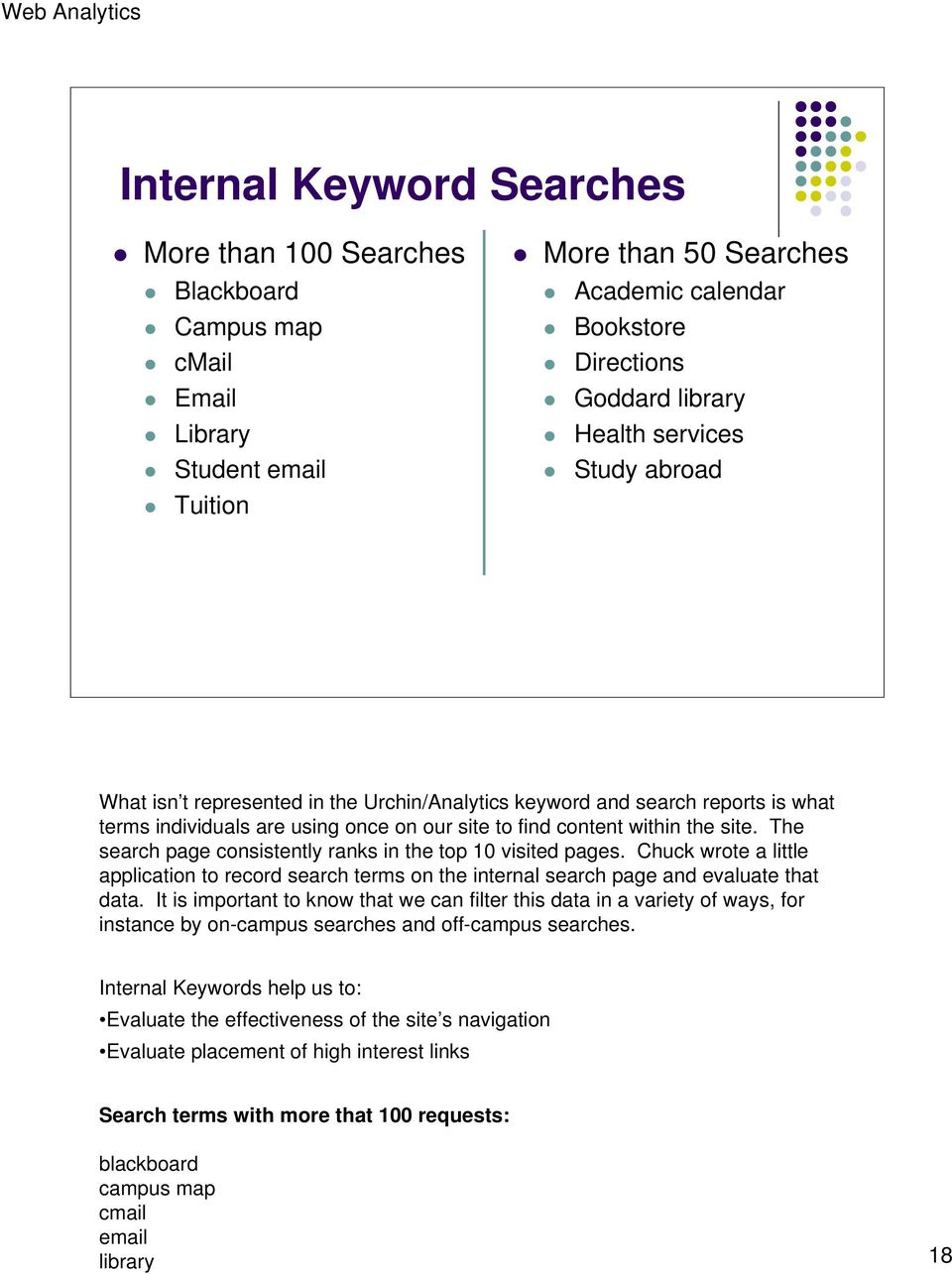 The search page consistently ranks in the top 10 visited pages. Chuck wrote a little application to record search terms on the internal search page and evaluate that data.