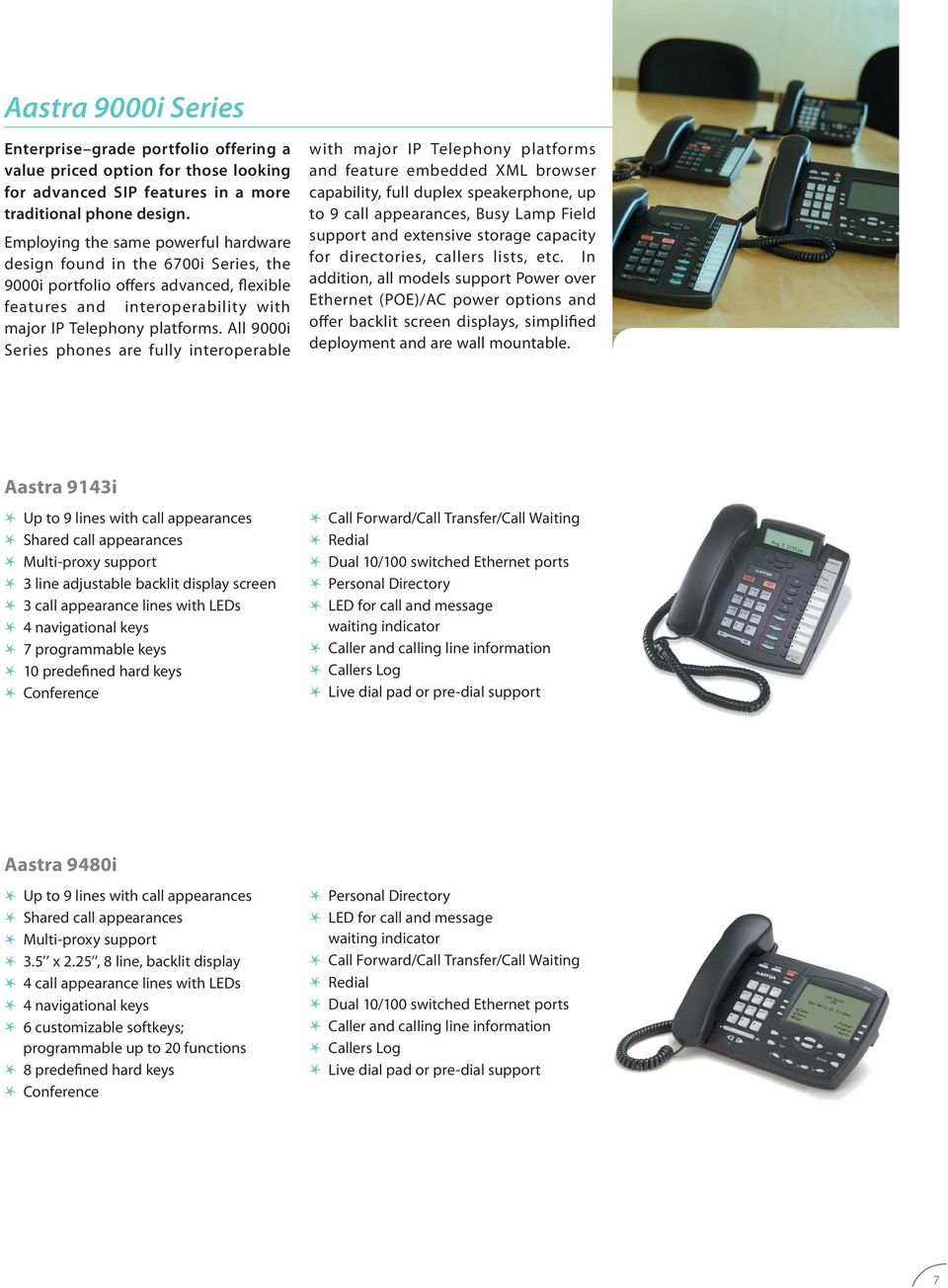 All 9000i Series phones are fully interoperable with major IP Telephony platforms and feature embedded XML browser capability, full duplex speakerphone, up to 9 call appearances, Busy Lamp Field