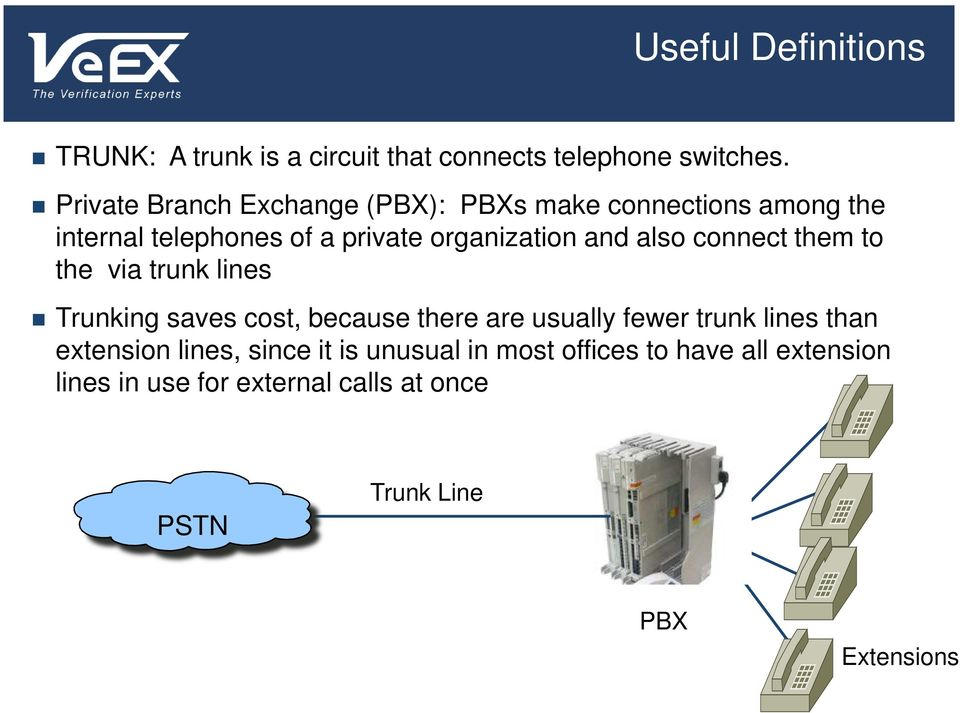 also connect them to the via trunk lines Trunking saves cost, because there are usually fewer trunk lines than