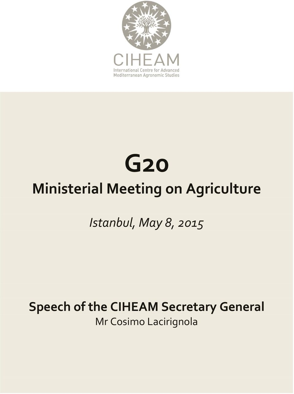 2015 Speech of the CIHEAM
