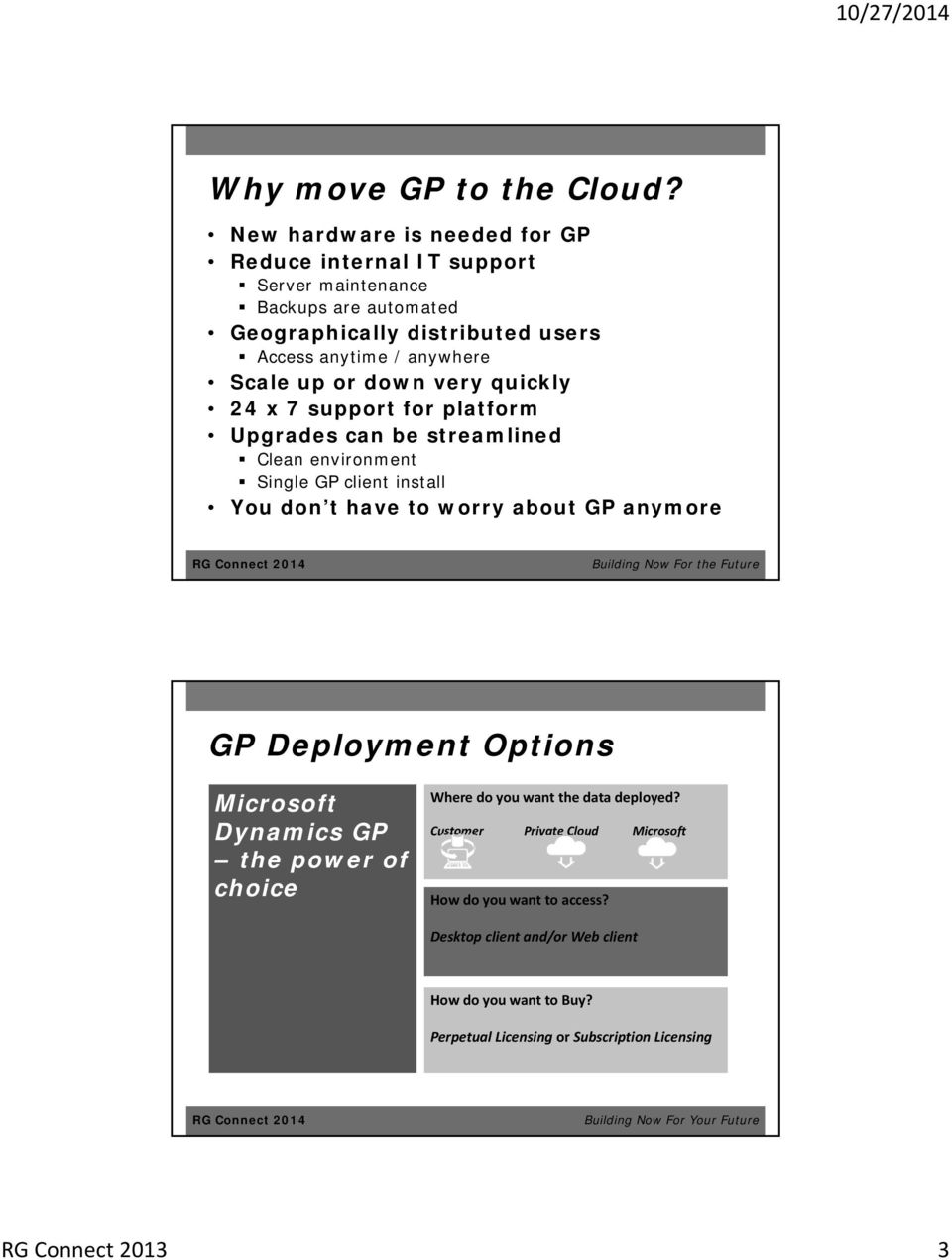 or down very quickly 24 x 7 support for platform Upgrades can be streamlined Clean environment Single GP client install You don t have to worry about GP anymore GP