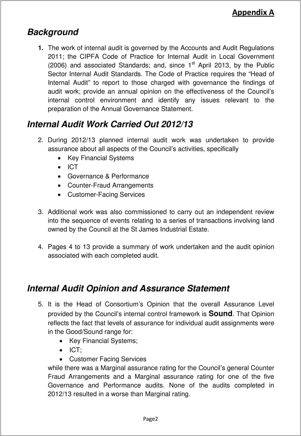 April 2013, by the Public Sector Internal Audit Standards.