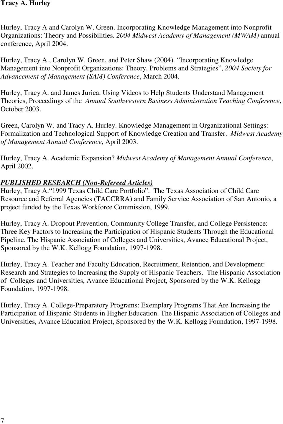 Incorporating Knowledge Management into Nonprofit Organizations: Theory, Problems and Strategies, 2004 Society for Advancement of Management (SAM) Conference, March 2004. Hurley, Tracy A.