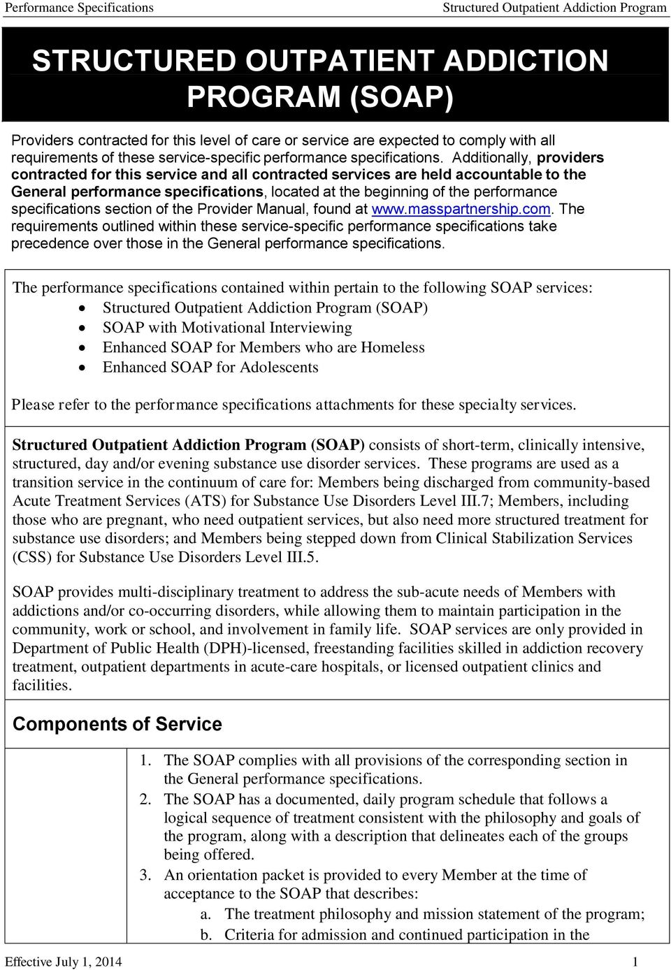 specifications section of the Provider Manual, found at www.masspartnership.com.