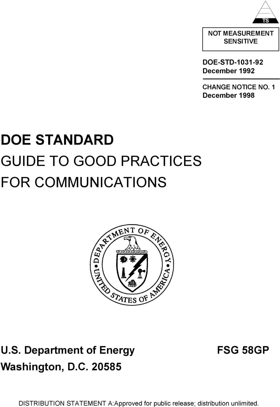 1 December 1998 DOE STANDARD GUIDE TO GOOD PRACTICES FOR