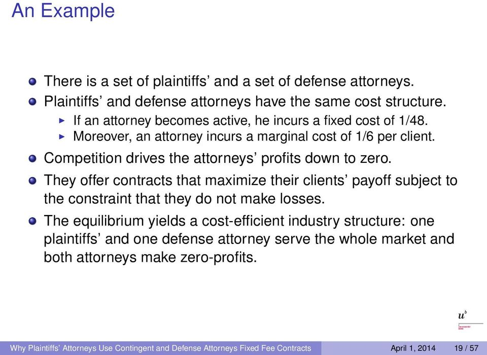 Competition drives the attorneys profits down to zero. They offer contracts that maximize their clients payoff subject to the constraint that they do not make losses.