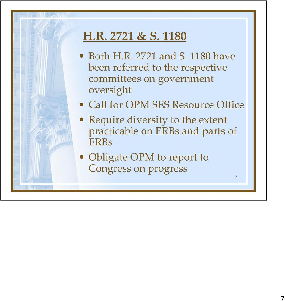 oversight Call for OPM SES Resource Office Require diversity to the