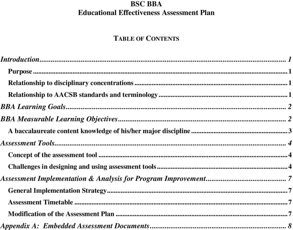 .. 2 A baccalaureate content knowledge of his/her major discipline... 3 Assessment Tools... 4 Concept of the assessment tool.