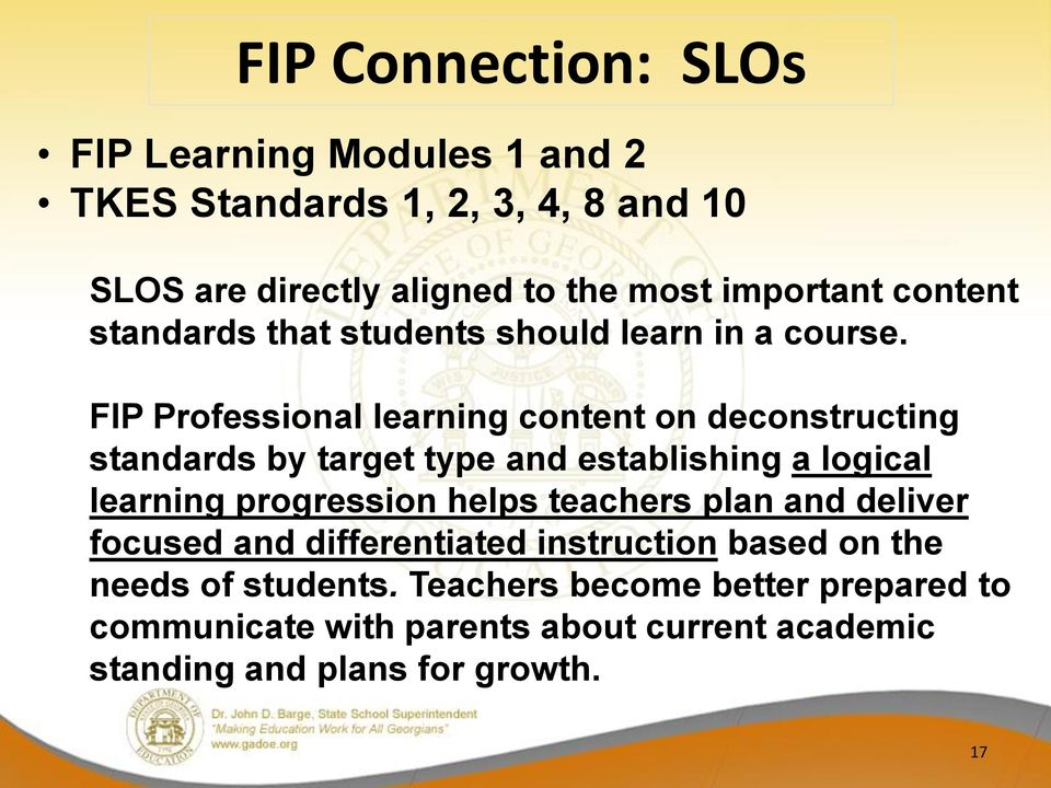 FIP Professional learning content on deconstructing standards by target type and establishing a logical learning progression helps