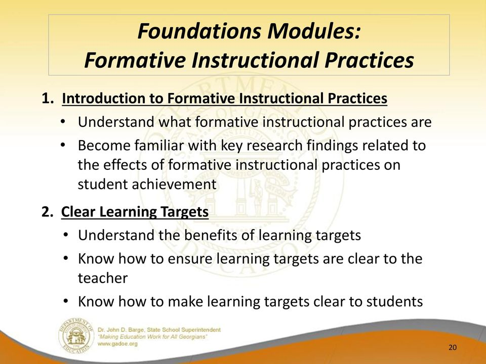 familiar with key research findings related to the effects of formative instructional practices on student achievement