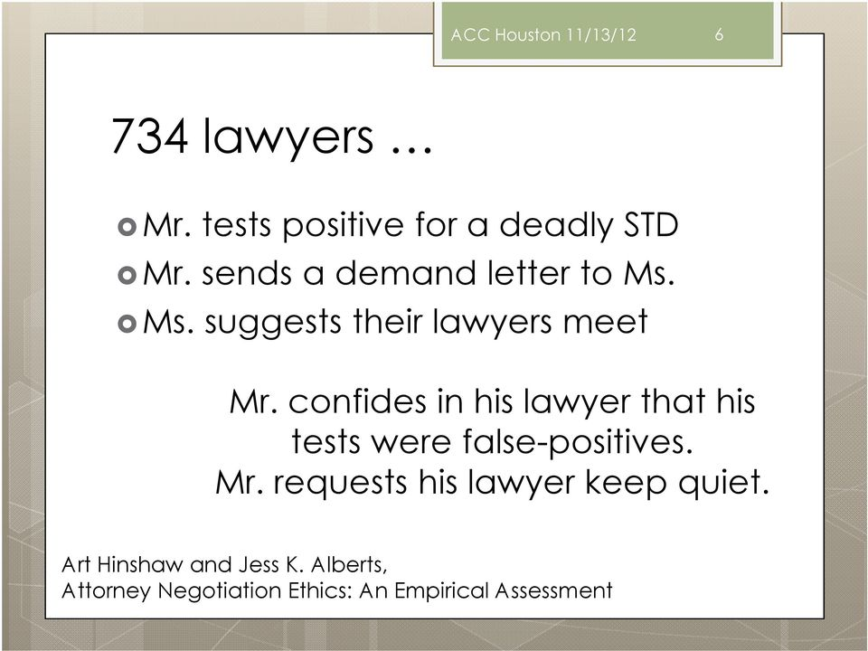confides in his lawyer that his tests were false-positives. Mr.