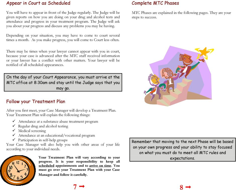 The Judge will ask you about your progress and discuss any problems you may be having. Complete MTC Phases MTC Phases are explained in the following pages. They are your steps to success.