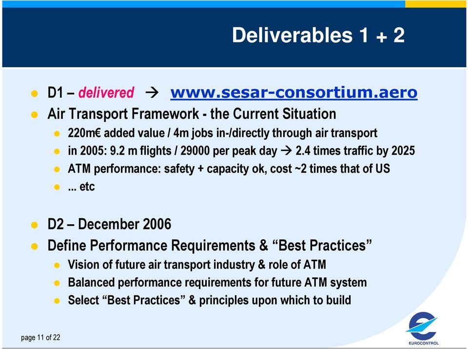 2 m flights / 29000 per peak day 2.4 times traffic by 2025 ATM performance: safety + capacity ok, cost ~2 times that of US.