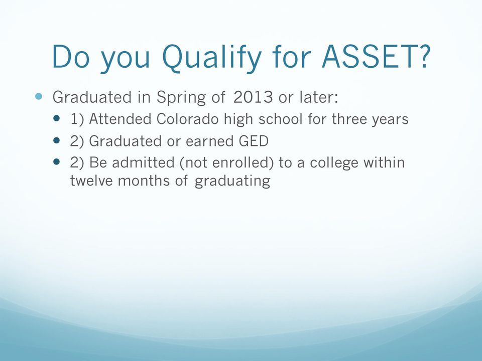 1) Attended Colorado high school for three years!