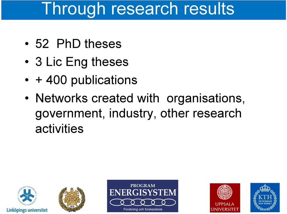 Networks created with organisations,
