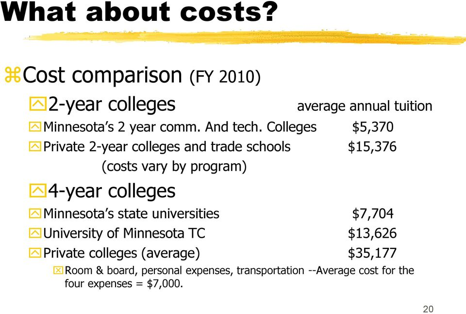 Colleges $5,370 Private 2-year colleges and trade schools $15,376 (costs vary by program) 4-year colleges