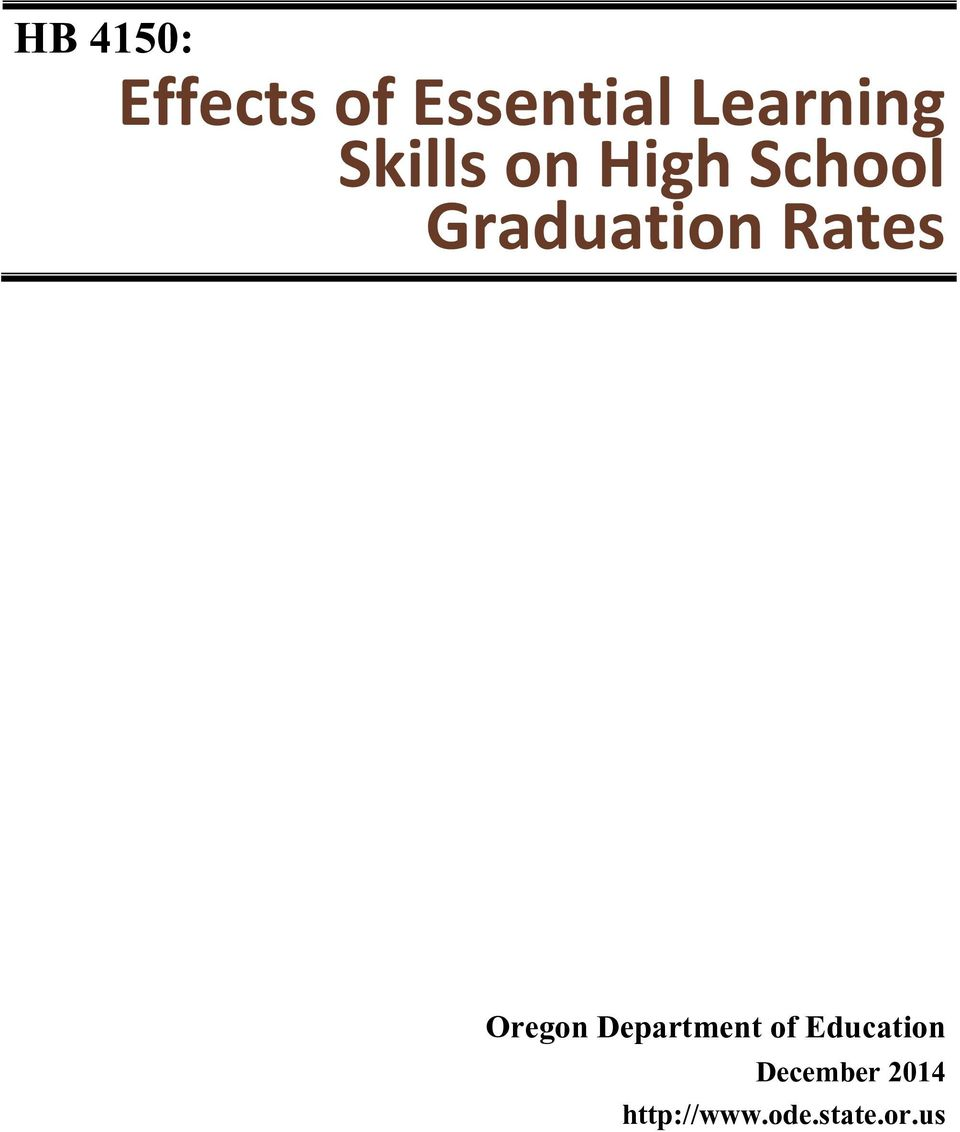 Graduation Rates Oregon Department of