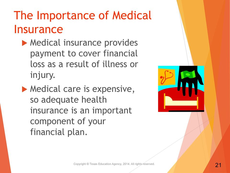 Medical care is expensive, so adequate health insurance is an important