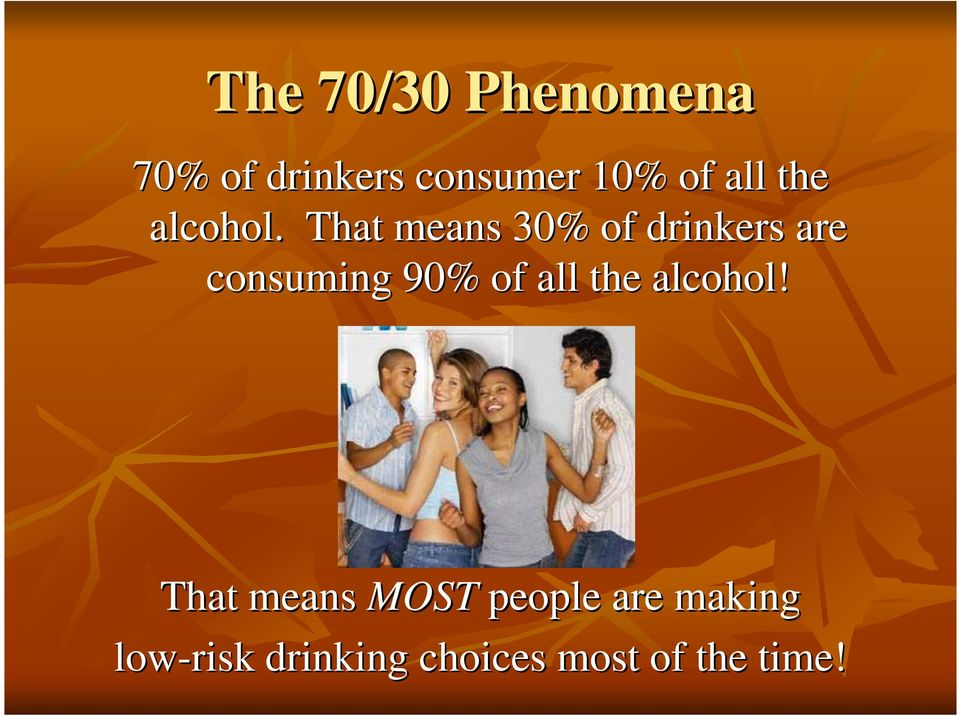 That means 30% of drinkers are consuming 90% of all