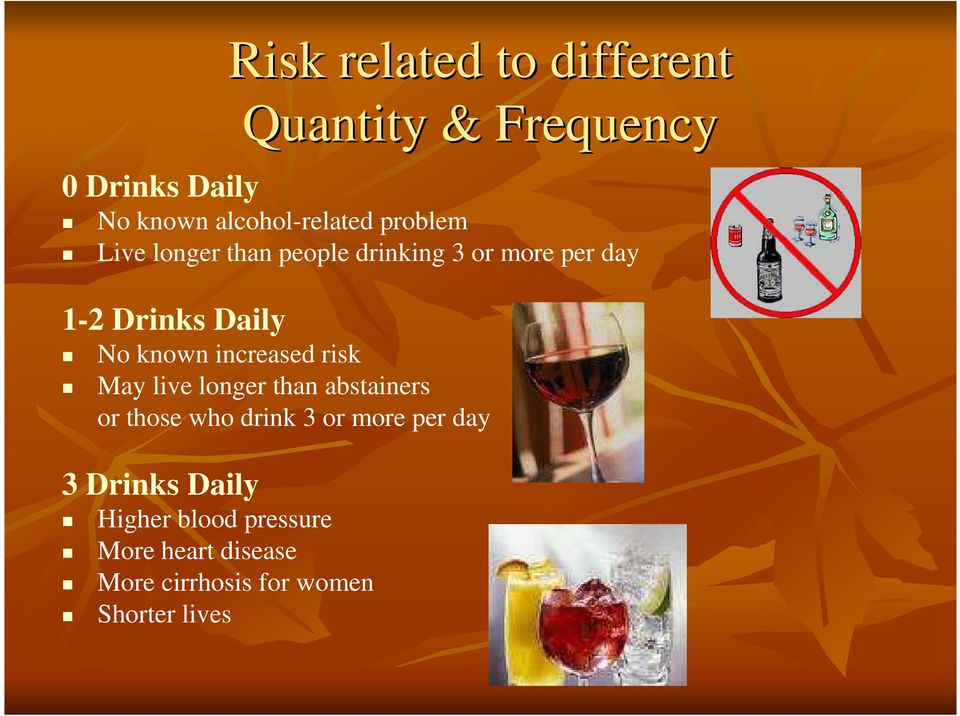 increased risk May live longer than abstainers or those who drink 3 or more per day 3