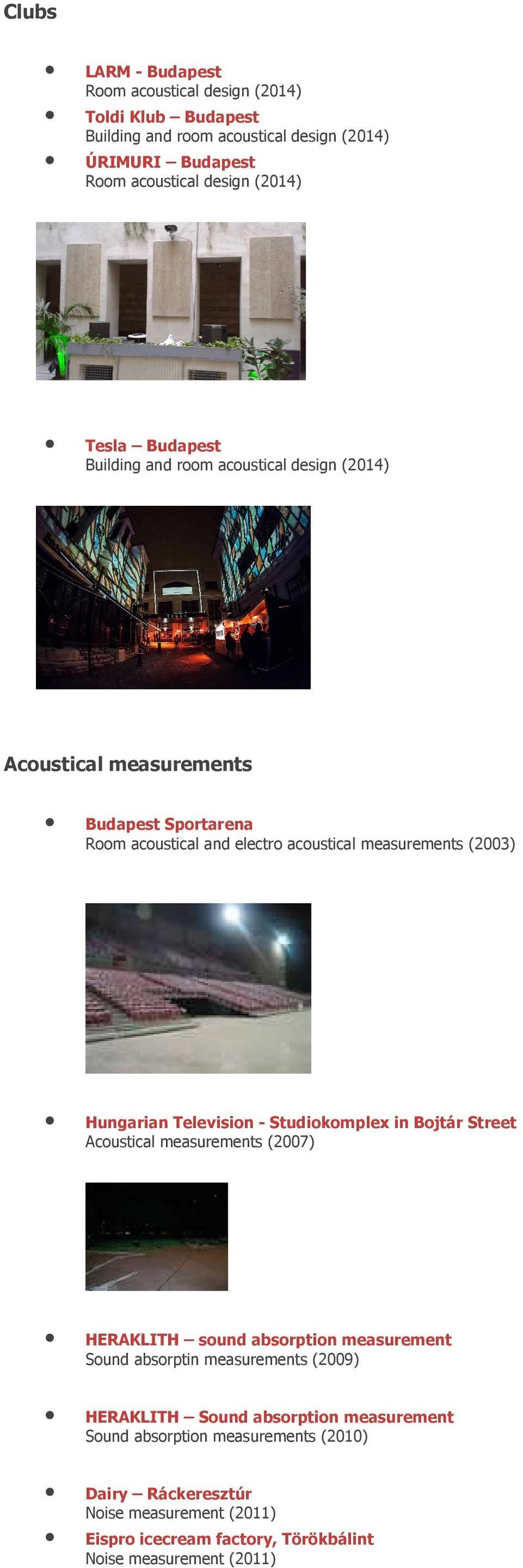 Hungarian Television - Studiokomplex in Bojtár Street Acoustical measurements (2007) HERAKLITH sound absorption measurement Sound absorptin measurements (2009)