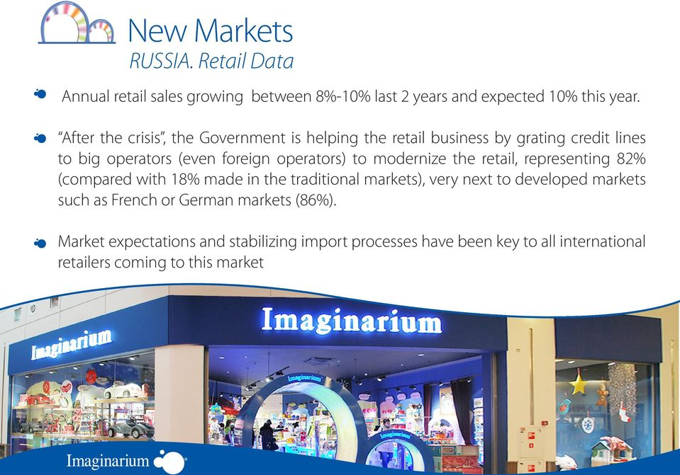 modernize the retail, representing 82% (compared with 18% made in the traditional markets), very next to developed markets such as
