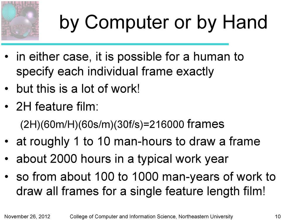 2H feature film: (2H)(60m/H)(60s/m)(30f/s)=216000 frames at roughly 1 to 10 man-hours to draw