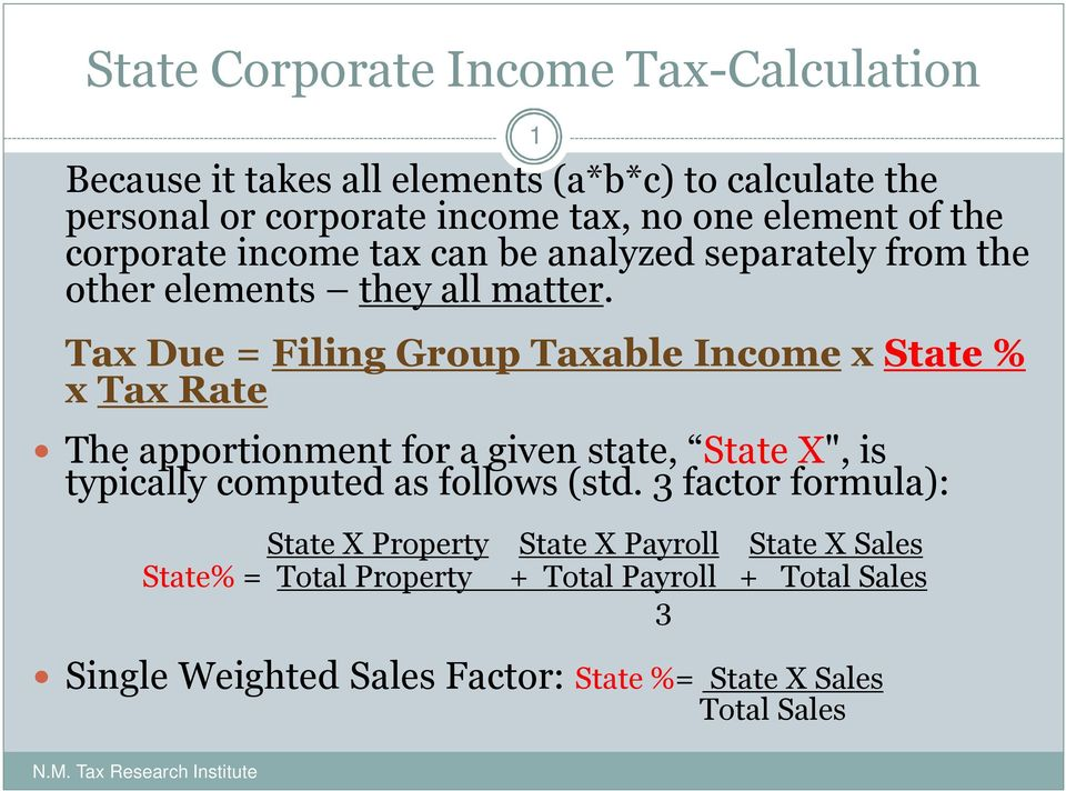 "Tax Due = Filing Group Taxable Income x State % x Tax Rate The apportionment for a given state, State X"", is typically computed as follows (std."