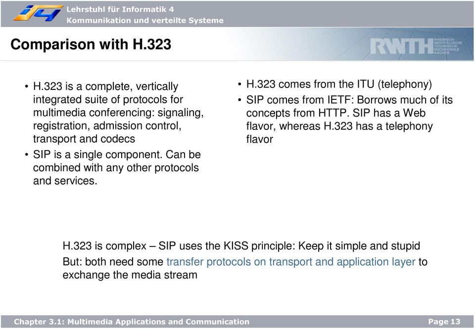 codecs SIP is a single component. Can be combined with any other protocols and services. H.