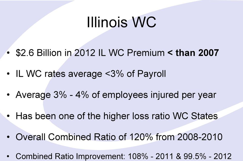 Payroll Average 3% - 4% of employees injured per year Has been one of