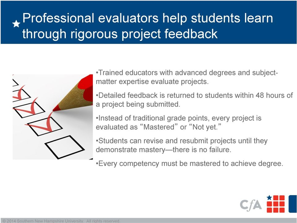 Detailed feedback is returned to students within 48 hours of a project being submitted.
