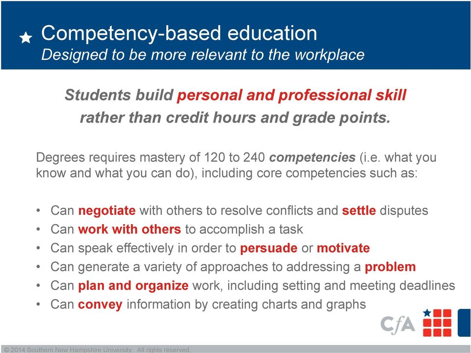 rees requires mastery of 120 to 240 competencies (i.e. what you know and what you can do), including core competencies such as: Can negotiate with others to