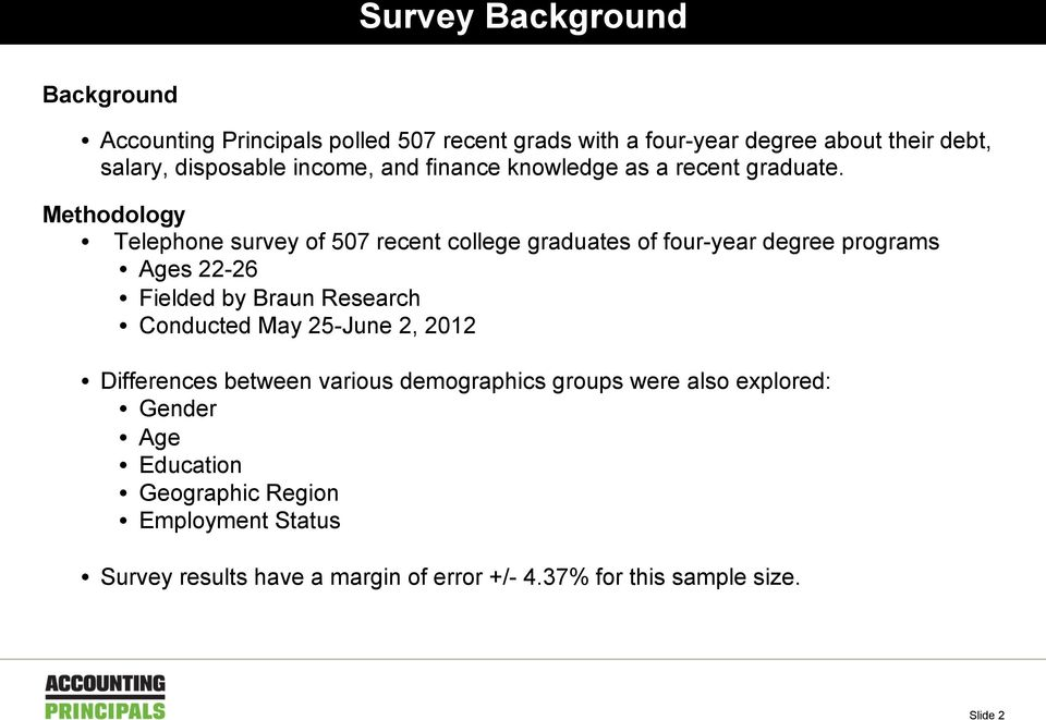 Methodology Telephone survey of 507 recent college graduates of four-year degree programs Ages 22-26 Fielded by Braun Research Conducted
