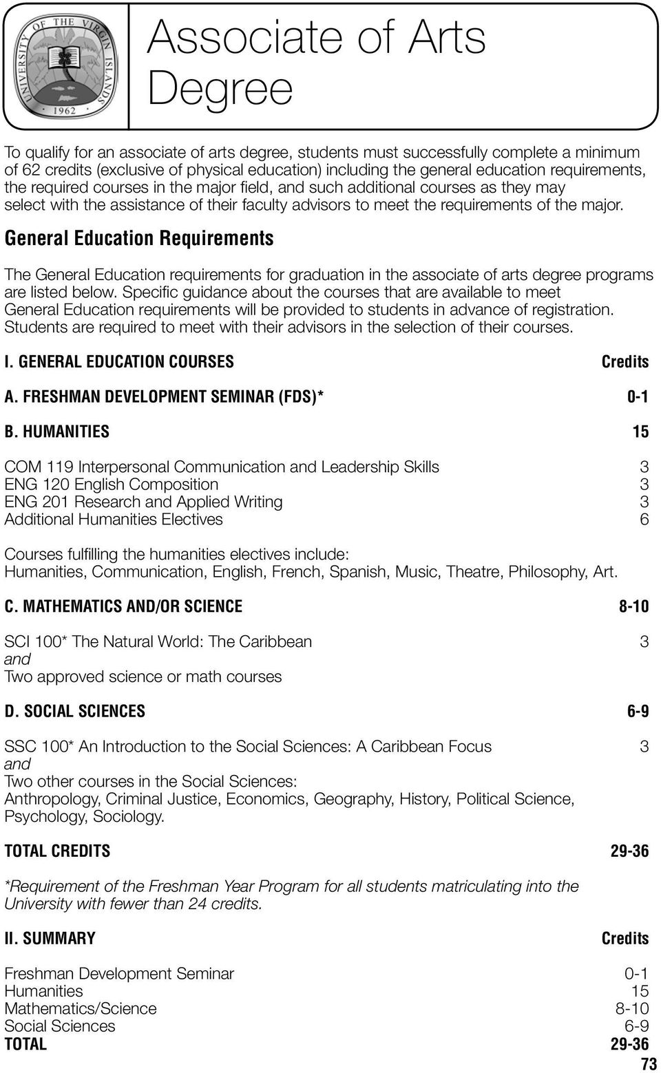 General Education Requirements Associate of Arts Degree The General Education requirements for graduation in the associate of arts degree programs are listed below.
