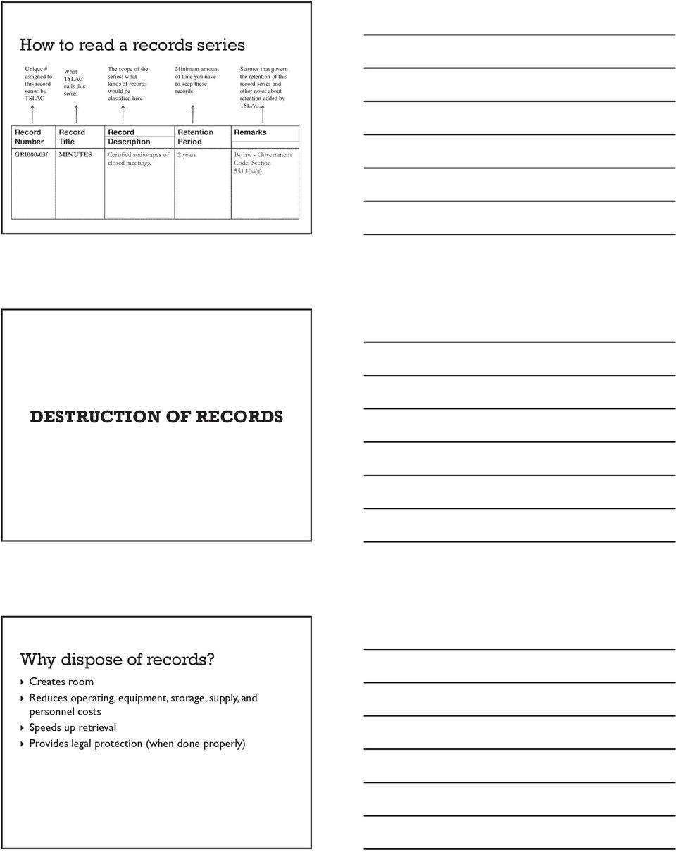Record Number Record Title Record Description GR1000-03f MINUTES Certified audiotapes of closed meetings. Retention Period Remarks 2 years By law - Government Code, Section 551.