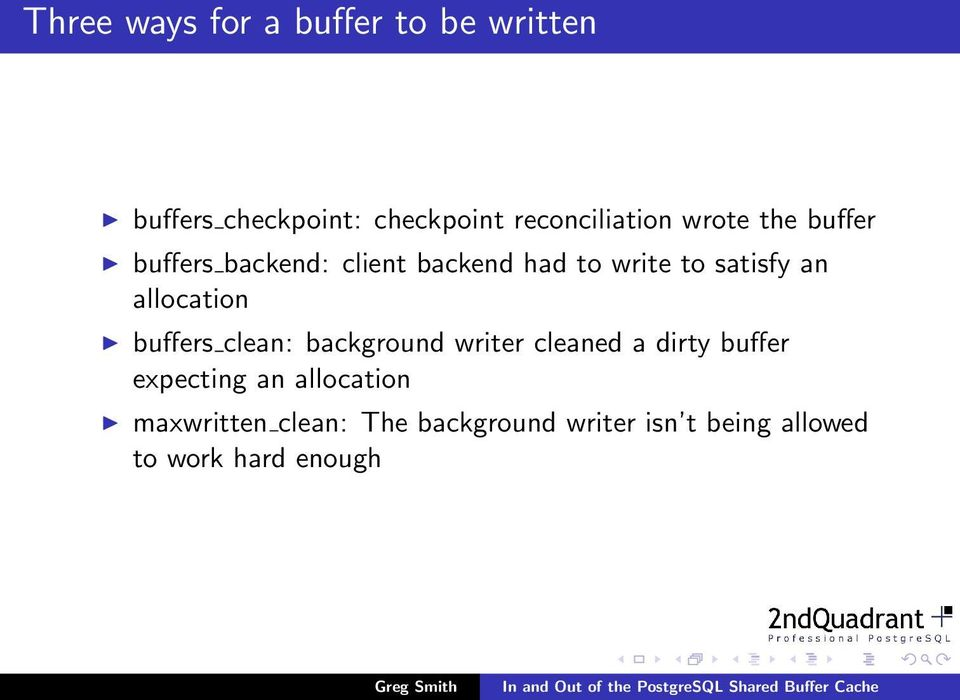 satisfy an allocation buffers clean: background writer cleaned a dirty buffer