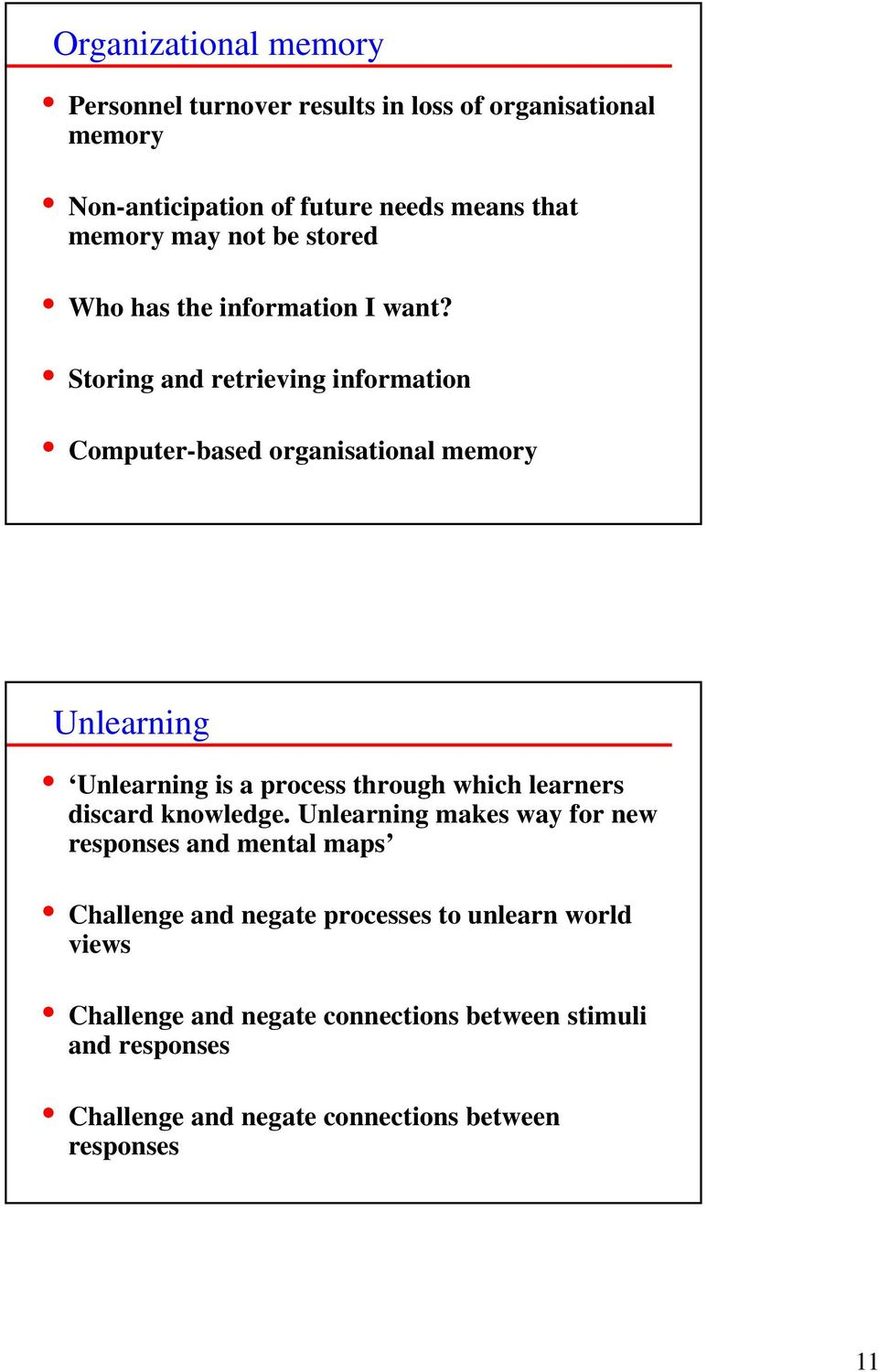 Storing and retrieving information Computer-based organisational memory Unlearning Unlearning is a process through which learners discard
