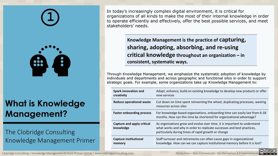 Knowledge Management is the practice of capturing, sharing, adopting, absorbing, and re-using critical knowledge throughout an organization in consistent, systematic ways.