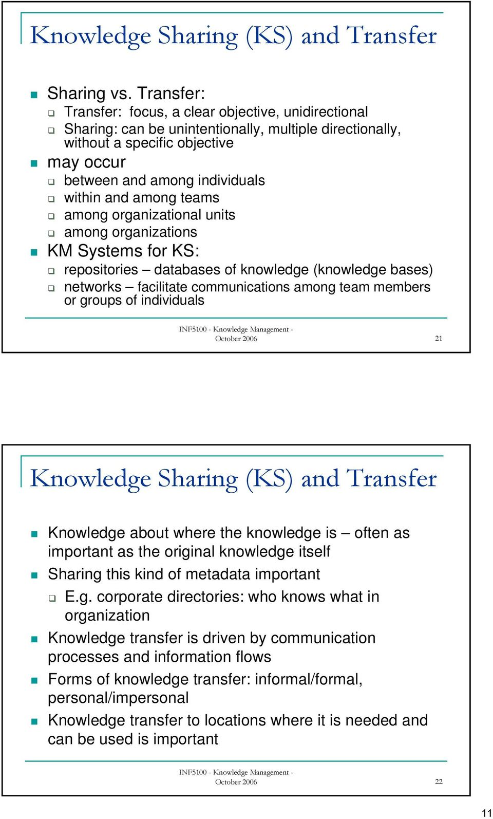 among teams among organizational units among organizations KM Systems for KS: repositories databases of knowledge (knowledge bases) networks facilitate communications among team members or groups of