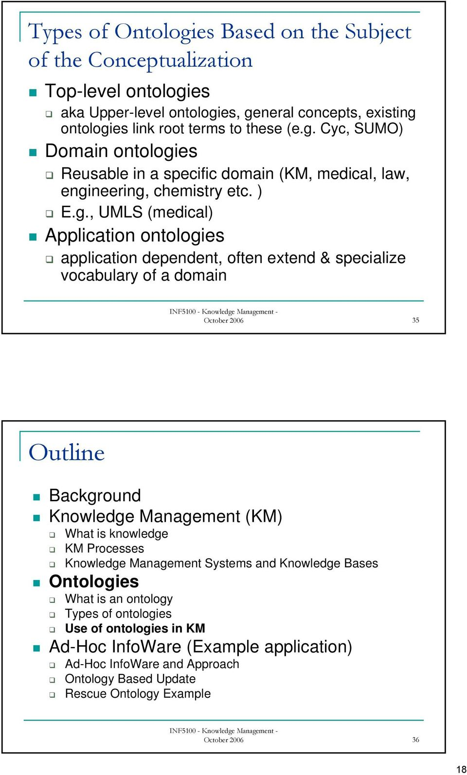 , UMLS (medical) Application ontologies application dependent, often extend & specialize vocabulary of a domain October 2006 35 Outline Background Knowledge Management (KM) What is
