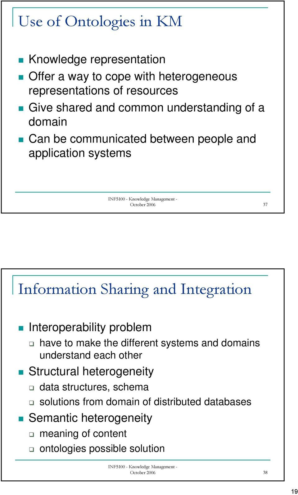 Integration Interoperability problem have to make the different systems and domains understand each other Structural heterogeneity data