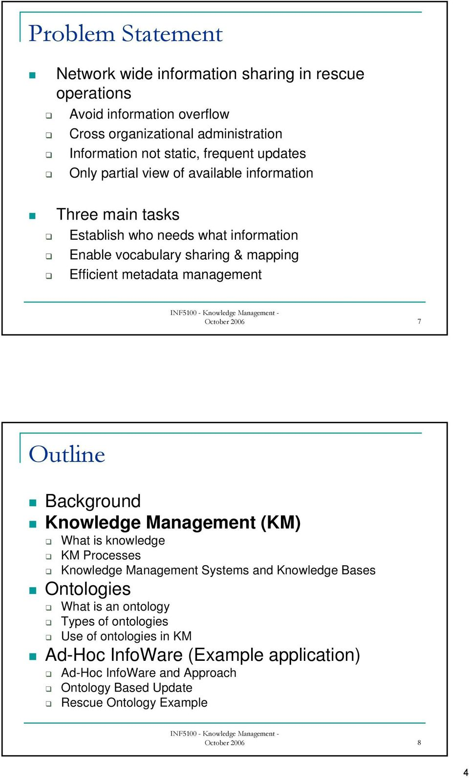 October 2006 7 Outline Background Knowledge Management (KM) What is knowledge KM Processes Knowledge Management Systems and Knowledge Bases Ontologies What is an ontology
