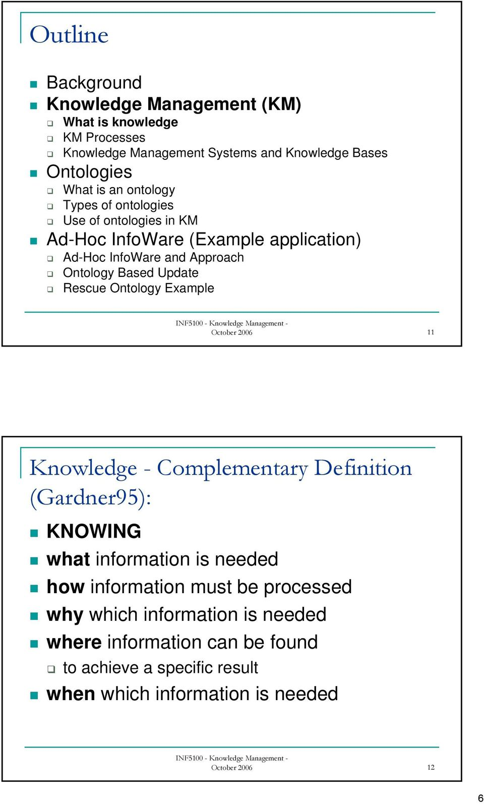 Rescue Ontology Example October 2006 11 Knowledge - Complementary Definition (Gardner95): KNOWING what information is needed how information must
