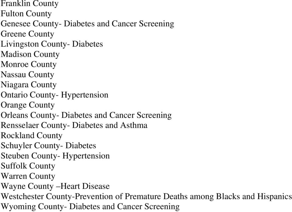Rensselaer County- Diabetes and Asthma Rockland County Schuyler County- Diabetes Steuben County- Hypertension Suffolk County Warren County