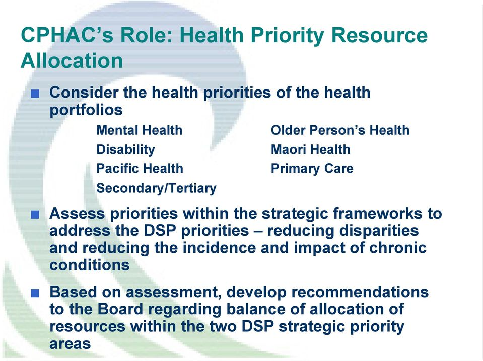 strategic frameworks to address the DSP priorities reducing disparities and reducing the incidence and impact of chronic