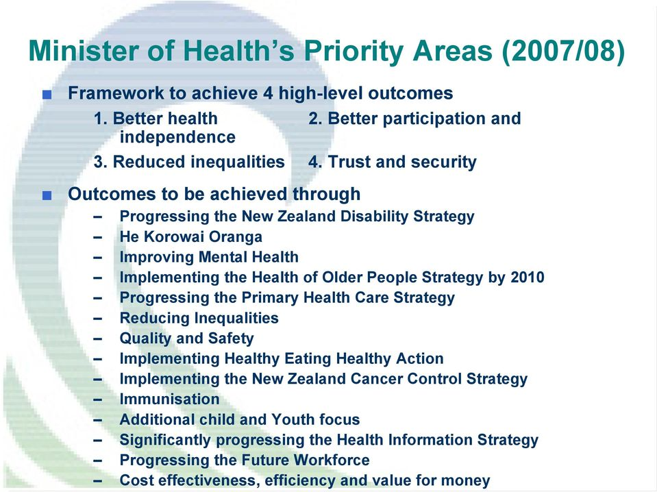Strategy by 2010 Progressing the Primary Health Care Strategy Reducing Inequalities Quality and Safety Implementing Healthy Eating Healthy Action Implementing the New Zealand Cancer