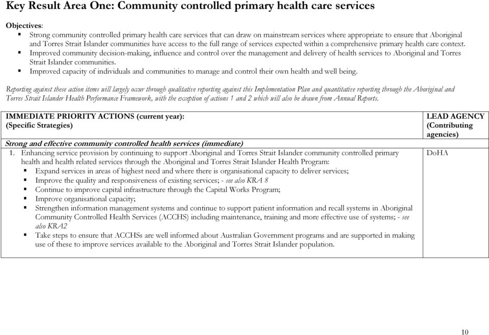 Improved community decision-making, influence and control over the management and delivery of health services to Aboriginal and Torres Strait Islander communities.